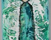 Mixed Media Canvas Acrylic Original Art Angel Teal