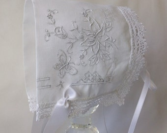 Handkerchief Baby Bonnet,  Hanky Bonnet, Handmade, Lace Heirloom Baby Bonnet, Christening, 6 - 18 months, Butterfly, White, Ready  to Ship