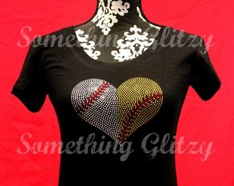 Half Baseball Half Softball Heart, Baseball, Softball, Baseball heart, Softball Heart, Combined Ball Heart, Baseball and softball Mom, Sis