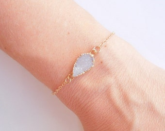 White Druzy Bracelet - Teardrop Shape - OOAK Jewelry