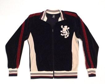 Griffin Track Jacket Vintage Royal Lion Insignia Navy Velour Colorblock Starter Jacket 80s 1990s Size Medium Warm Up Jacket Varsity Stripes