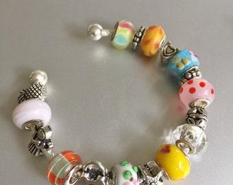 Italian Glass Bracelet with Silver Charms