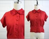 1940s Dark Red Silk Blouse
