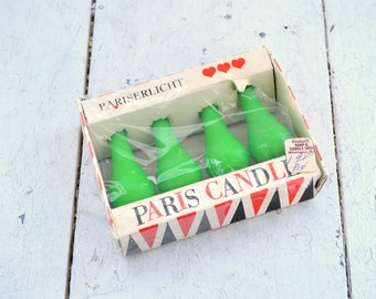 1960s Lime Green Paris Candles in Original Box