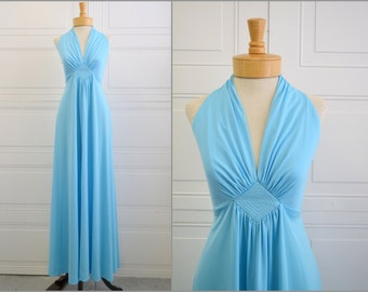 1970s Blue Halter Maxi Dress