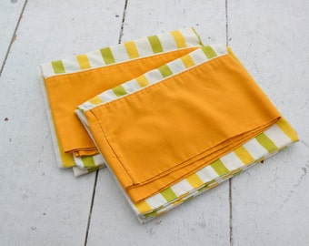 1970s Striped Pillowcases, Set of 2