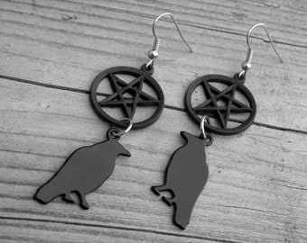 Raven and Black Pentagram Earrings Pentacle Gothic Goth Witchcraft Occult Witch Craft Raven Earrings Black Bird Earrings Crow Raven Jewelry