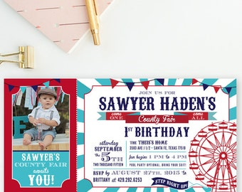Red, Teal & Navy - County Fair, Ferris Wheel, Birthday Party Invitations