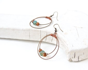 GUITAR STRING EARRINGS - bronze, turquoise - teens and adults - eco-friendly/upcycled jewelry - under 30.00