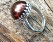 Chocolate Tahitian Pearl ring in sterling crown bezel. 14MM huge flawless brown tahitian pearl