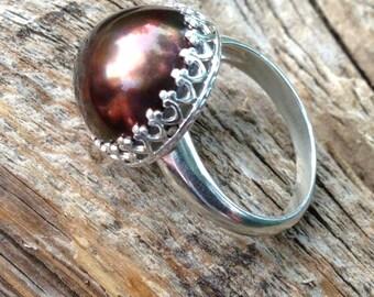 Chocolate Tahitian Pearl ring in sterling crown bezel. 14MM huge flawless brown tahitian pearl