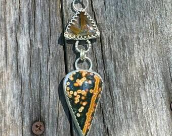 Gold Quartz and ocean jasper pendant. OOAK Ocean Jasper Pendant, statement necklace, gold rudilated quartz trilliom