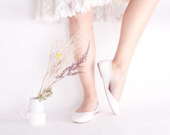 Bridal Ballet Flats | Wedding Flats | Ballerinas Shoes | White Bridal Flats | Milk White...ready to ship
