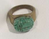 Ring Green Scarab Carved High Dome Cabochon