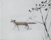 "Winter fox painting 7"" x 5"""