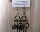 Triangle Earrings - antique brass, dangle, dream catcher, feather, circles, funky, bohemian, eclectic, earthy