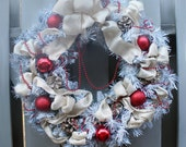 Holiday Wreath, Red and Gold, Painted White Evergreen Wreath, Red Glass Balls, Glitter Gold Pinecones, Gold Shimmer Ribbon and Red Garland
