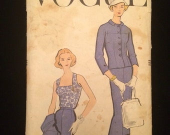 1950's Vogue Women's Two Piece Suit with Blouse Vintage Sewing Pattern Vogue 9159 Bust 36