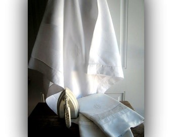 "Vintage Bedding- Heirloom "" Wedding Trousseau"" Quality- Pair of Linen Pillow Cases - MatchingTable Cloth"