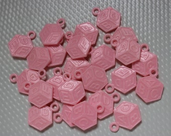 24 Pink Baby Building Block Charms / Baby Shower / Games / Necklaces / Table Scatter / Decor