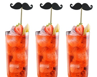 12 Black Mustache Drink Stirrers, Graduation Party Decorations, Bachelorette Party Supplies