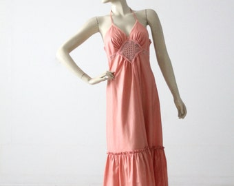 Young Edwardian halter dress, vintage 1970s hippie sundress