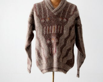 vintage men's pullover sweater with shawl collar, geometric pattern mohair sweater