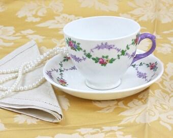 Teacup and Saucer Set - Staffordshire Teacup, Vintage Teacup, English Bone China, Hand Decorated - Lavender Floral Garland, c.1940s