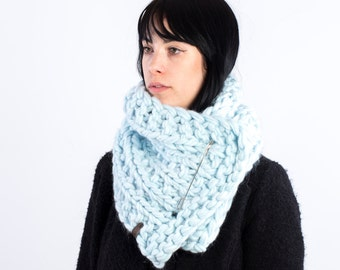 The Frileux (in L. Blue) /// oversize kitted scarf, cowl