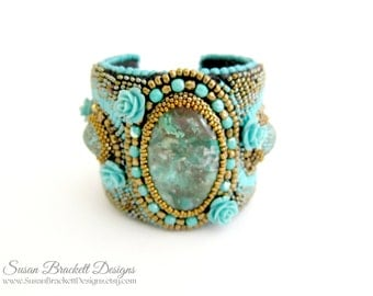 Turquoise Beaded Bracelet Boho Statement Cuff Bohemian Fashion Jewelry Native American Southwestern Western Beaded Turquoise Cabochon