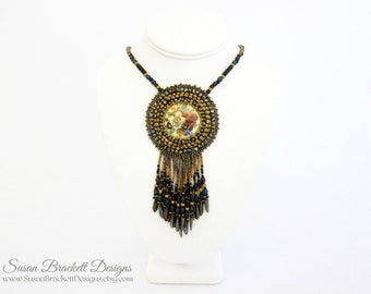 Beaded Cameo Necklace Cocktail Statement Necklaces Boho Chic Jewelry Bead Embroidered Bohemian Floral Cabochon Beads Jewellery - CLEARANCE