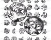 Digital Download Collage Sheet Vintage Alice In Wonderland 1890's Victorian Antique Mad Hatter White Rabbit 1 Inch Circles Bottle Caps (7)