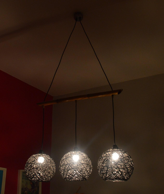Rustic chandelier lighting. Triple chandelier lamp. String