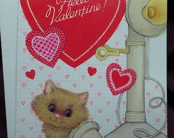Marian Heath Valentine Card / Kitty Cat / Telephone