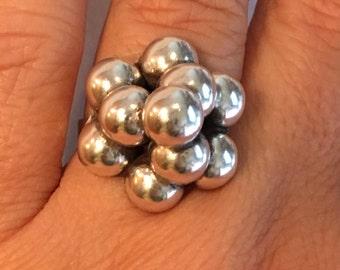 MODERNIST Balls STERLING SILVER Ring 6.3 grams Ring Size 9 Adjustible