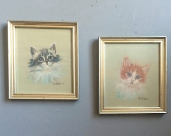 Vintage Kitsch Kitten Pastel Drawings Framed Tabby and Grey Cat Original Artwork signed Goldie