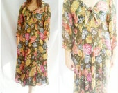 vintage 80s Floral Tunic Tent Dress  Quirky Nerdy Geek Chic midi dress forest green floor length dress