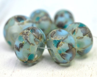frozen powder blue jewels.... SRA handmade, set of  lampwork beads in pale aqua, and grays great for making jewelry 102016-1