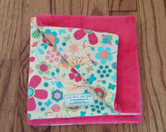 Eliza Bee Snuggle Blanket - Pink flowers and bugs with fuchsia minky