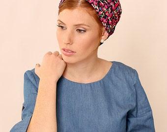 Headcovering,Black head scarf,Hair accessory,Womens hair scarf,Turban,Headwrap,Boho headwrap,Stretchy headwrap,Printed headwrap