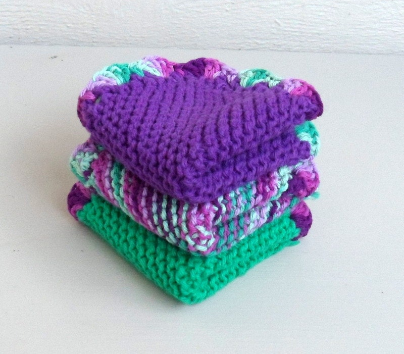 Baby Washcloths Knitting Patterns: Hand Knit Washcloths Set Of 3 With Crocheted Edging
