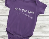 Custom Harry Potter Baby Onsie, Funny Harry Potter Baby Onesie - Accio Your Name or Saying, Harry Potter Onesie, Funny Harry Potter Baby