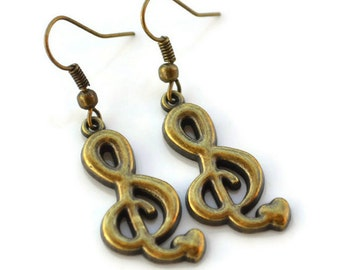 Clearance  Sale . Antiqued Brass Music Notes . Earrings