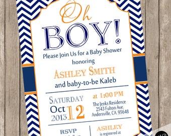 Oh Boy Baby Shower Invitation Navy and Orange Chevron printable invitation  no1