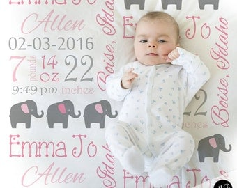 Birth Stats baby gift blanket with elephant, personalized blanket, stats blanket, girl baby blanket, baby shower gift, elephant pink