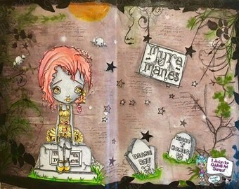 Digi Stamp Digital Instant Download Big Eye Ghost Girl in Graveyard Image No. 124 & 124B by Lizzy Love