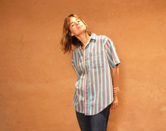 90s striped OXFORD soft SPRING t shirt top button up thin soft shirt