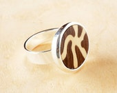Wooden ring, Silver plated, Marquetry, Black white, Wooden jewelry, Womens wood ring, Silver ring, Jewelry women,Casual jewelry,Boho jewelry