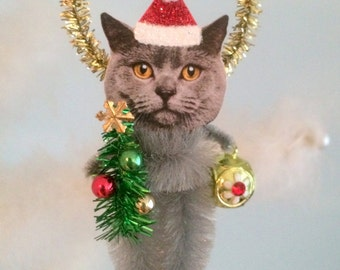 British Gray Cat Christmas Chenille Ornament Feather Tree