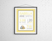 Nursery Wall Art Baby - Winnie the Pooh - Classic Vintage - Birth Stats Announcement - PRINT